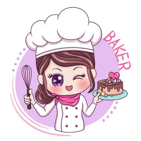 Illustrazione del personaggio dei cartoni animati Baker Vettoriali