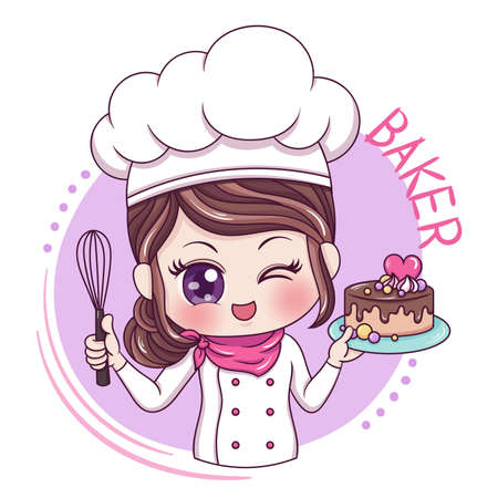 Ilustración del personaje de dibujos animados mujer panadero Ilustración de vector