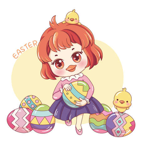 Illustration of cartoon character chicken girl holding a egg in easter day 일러스트