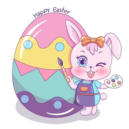 Illustration of cartoon rabbit painting easter egg