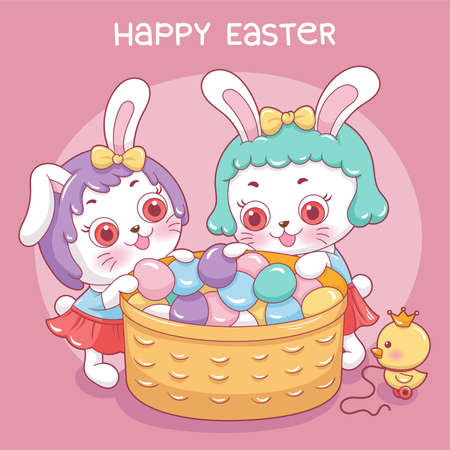 Illustration of cartoon character rabbit in easter day