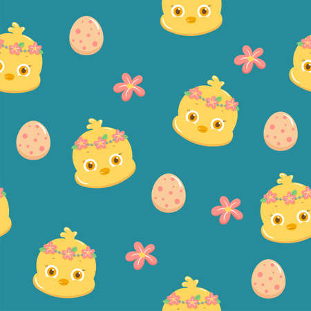 Illustration of pattern cartoon chicks and eggs in easter day Vettoriali