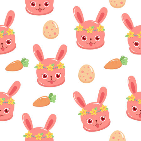 Illustration of pattern cartoon rabbits and eggs in easter day Vettoriali