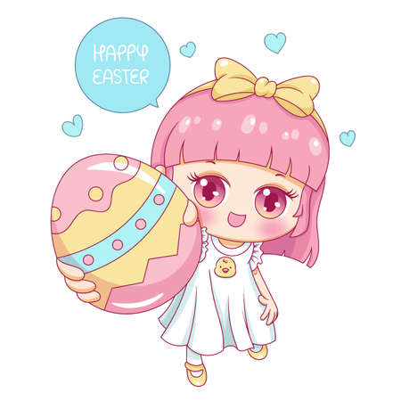 Illustration of cartoon character girl in easter day