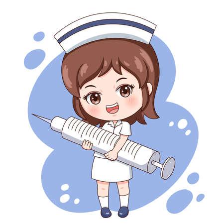 Ilustración de personaje de dibujos animados enfermera