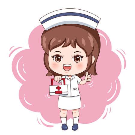Illustration of cartoon character nurse Vettoriali