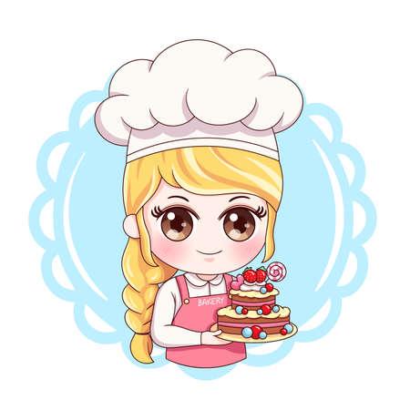 Illustration of cartoon character female baker