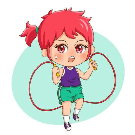 Illustration of cartoon character female exercise