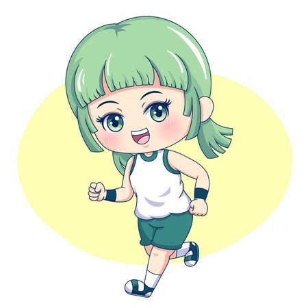 Illustration of cartoon character female running
