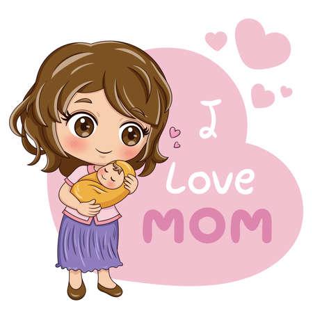Illustratie van stripfiguur moeder en baby