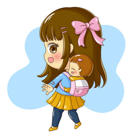 Illustration of cartoon character mother and baby