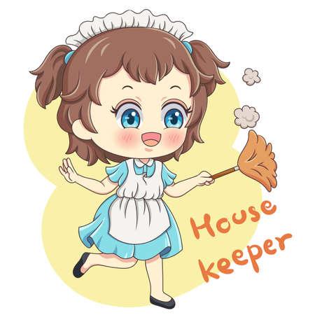 Illustration of cartoon character housekeeper