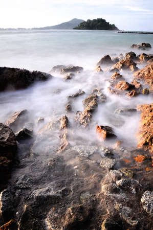 Nature wave and rocks Stock Photo