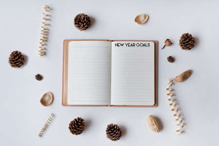 Conceptual,notebook on a with table. open diary with New Year Goals Words Stock Photo