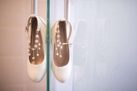 Beautiful white heels for brides. Wedding ceremony
