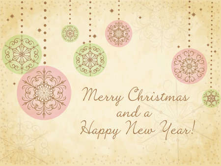 Cute Christmas card with snowflakes on old paper