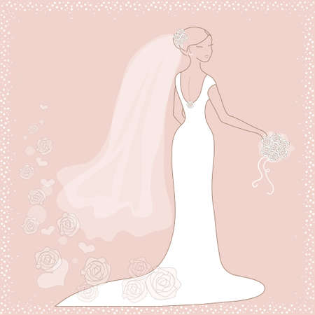 Beautiful wedding card with bride on pink background Vector