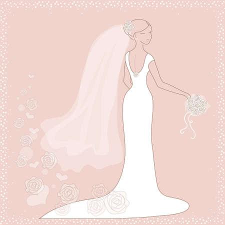 Mooie trouwkaart met bruid op roze achtergrond