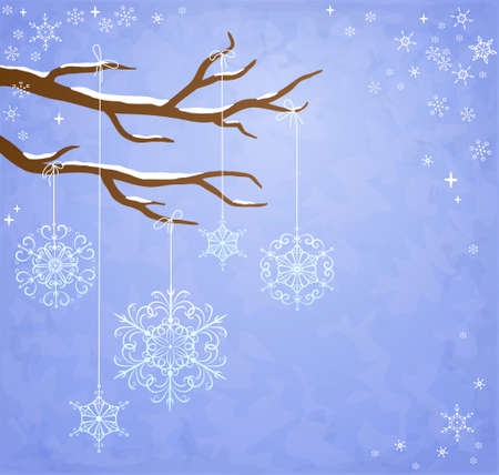 Winter background with snowflakes hanging on a tree Stock Vector - 11450319