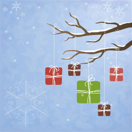 Winter background with gifts hanging on a tree Stock Vector - 11450320