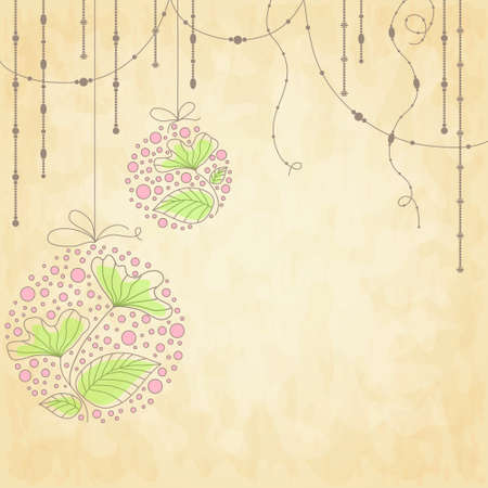 Beautiful vector Christmas balls with flowers on old paper Stock Vector - 11450323