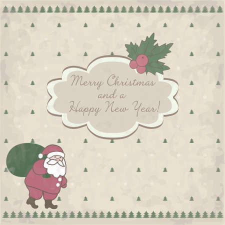 Christmas card with Santa Claus and place for text on old paper Vector