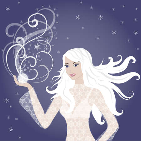 Vector blonde winter girl with whirl of snowflakes Vector