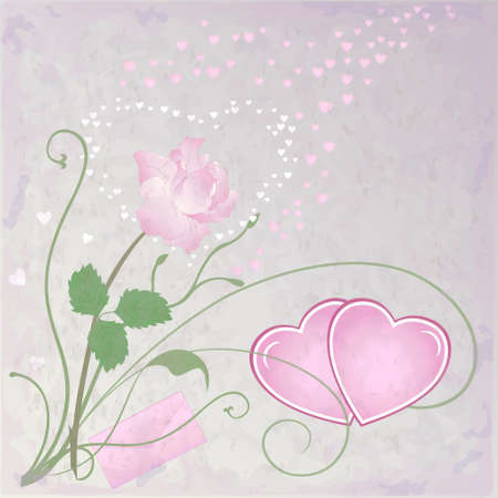 Vector romantic background with hearts and rose