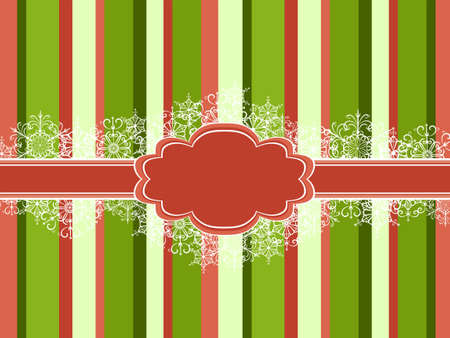 Beautiful Christmas vector frame with stripes and snowflakes Vector