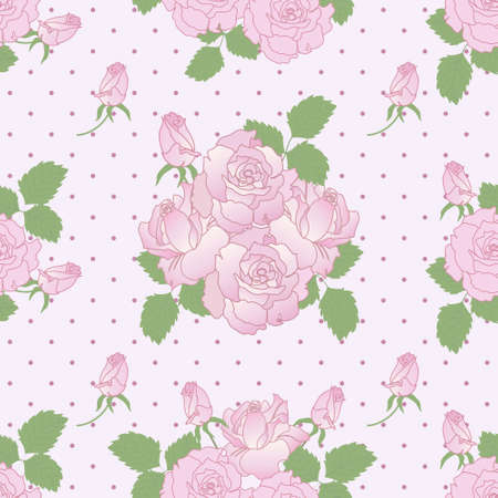 Seamless vector romantic pattern with pink roses and buds Illustration