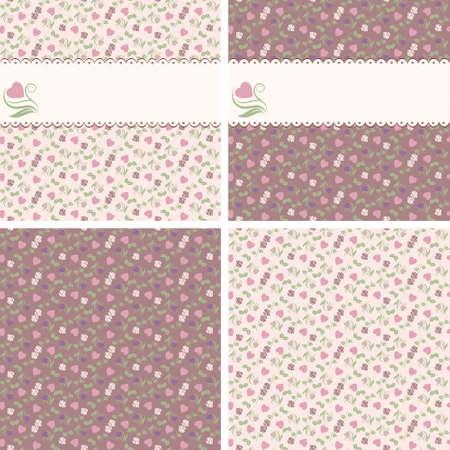 心とバラのフレームを持つ 4 つのバレンタイン シームレスなパターン  イラスト・ベクター素材