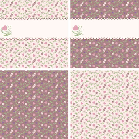 Four valentine seamless patterns with frames of hearts and roses Illustration