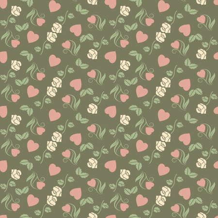 心とバラをベクトル バレンタイン シームレスなパターン