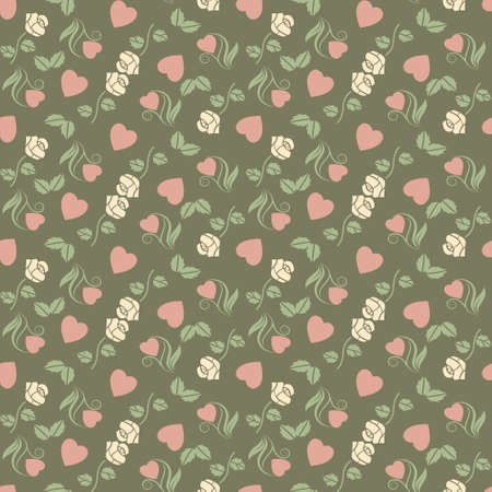 Vector valentine seamless pattern with hearts and roses Zdjęcie Seryjne - 12075839