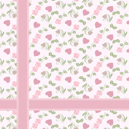 Vector valentine gift pattern with hearts and roses Illustration