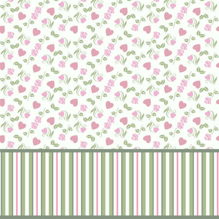 red stripe: Vector valentine seamless pattern with hearts roses and stripes