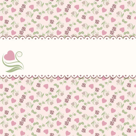 floral heart: Vector valentine seamless pattern with hearts roses and frame