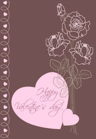 Valentines day vector greeting card with roses and hearts Vector