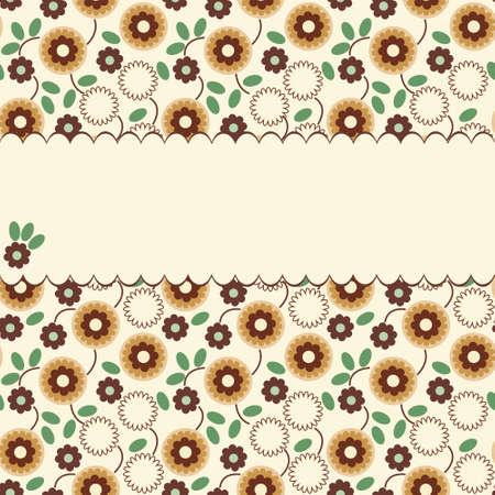 Vector floral pattern with a frame with brown and orange flowers Stock Vector - 12275365