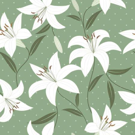 繊細な緑のユリとのシームレスなベクトルの壁紙  イラスト・ベクター素材