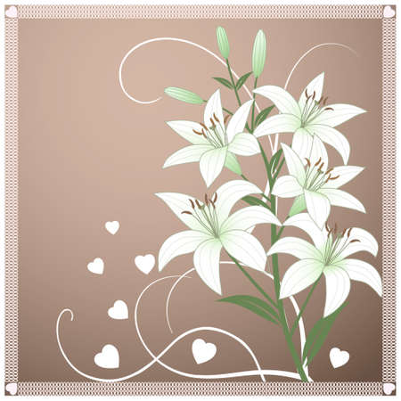 Beautiful spring vector wallpaper with delicate green lilies Stock Vector - 12275367