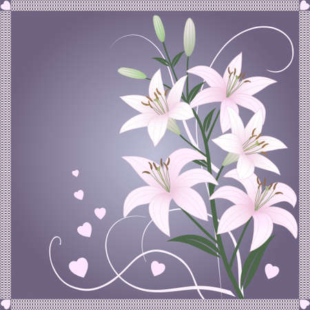 Beautiful spring vector wallpaper with delicate pink lilies Vector