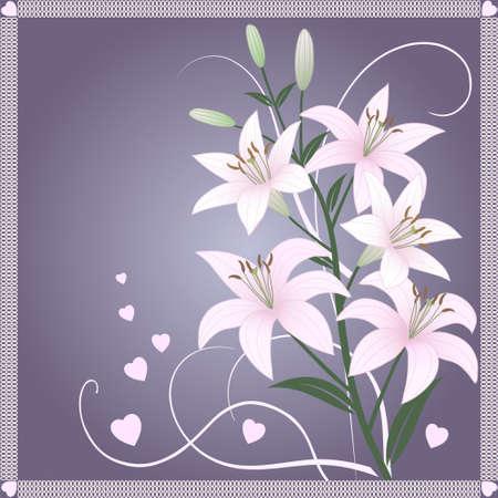 Belle papier peint vecteur printemps avec de délicats lis roses