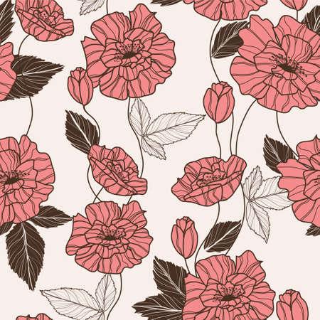 poppy pattern: Seamless vector pattern with elegant red poppy flowers