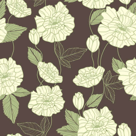 Seamless vector pattern with elegant green poppy flowers Vector