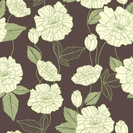 Seamless vector pattern with elegant green poppy flowers Illustration