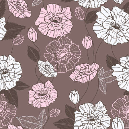 poppy flowers: Seamless vector pattern with elegant pink an white poppy flowers