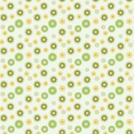 repeat texture: Vector seamless floral pattern with green and yellow flowers