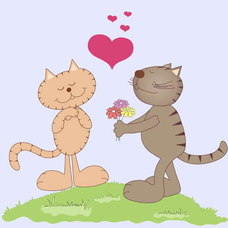 Two vector cartoon cats in love with flowers Illustration