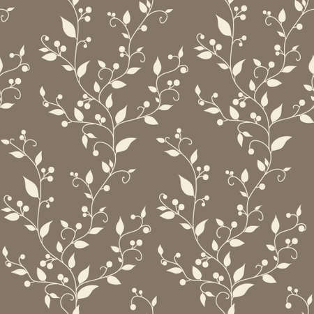 floral fabric: Floral vector vintage seamless pattern with leaves and berries